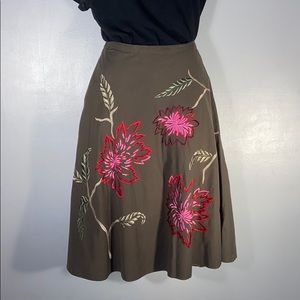 Embroidered A line skirt, size 4